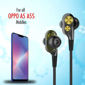 PTron Boom Evo 4D Headphones Deep Bass Stereo Wired Headset For Oppo A5/ A5S (Black/Gold)
