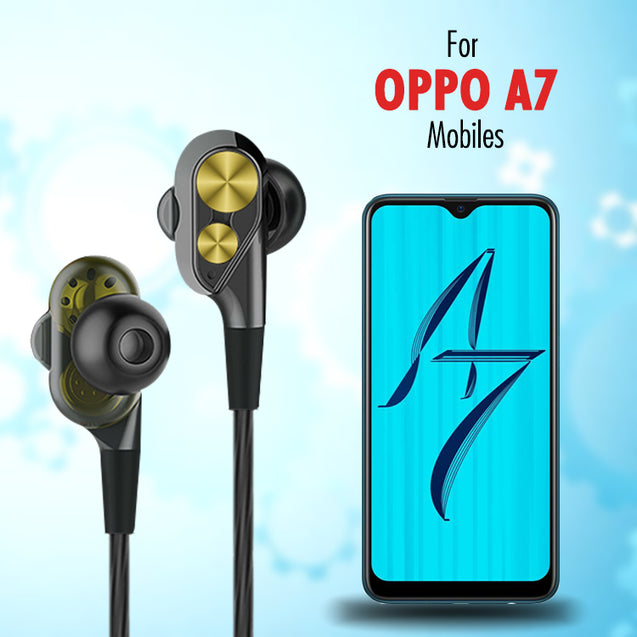 PTron Boom Evo 4D Headphones Deep Bass Stereo Wired Headset For Oppo A7 (Black/Gold)