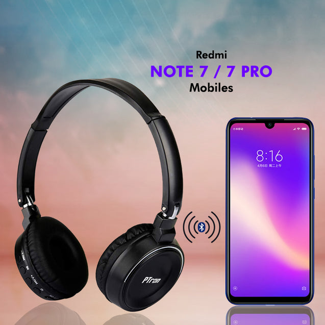 PTron Trips Stereo Bluetooth Headphones With Mic For Xiaomi Redmi Note 7/Note 7 Pro (Black)