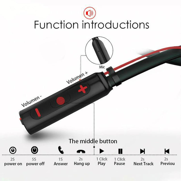 PTron Tangent Pro Bluetooth Headset Stereo Wireless Headphone For Vivo V11 Pro (Red/Black)