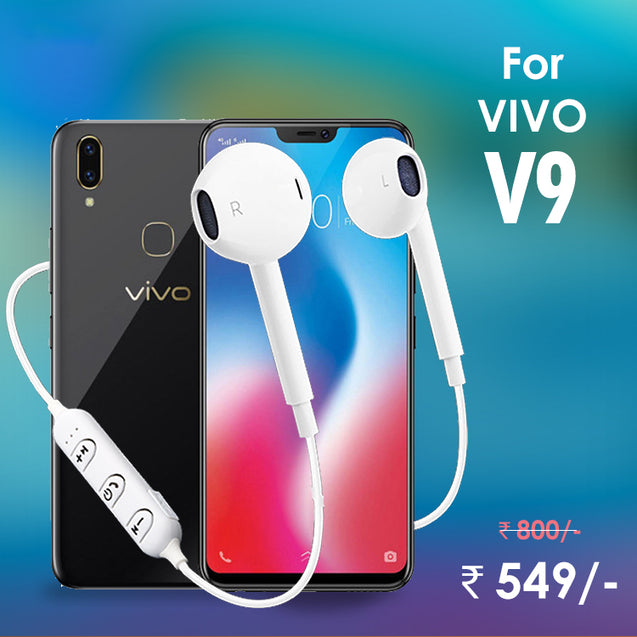 PTron Avento Bluetooth Headphones In-Ear Wireless Earphones With Mic For Vivo V9 (White)