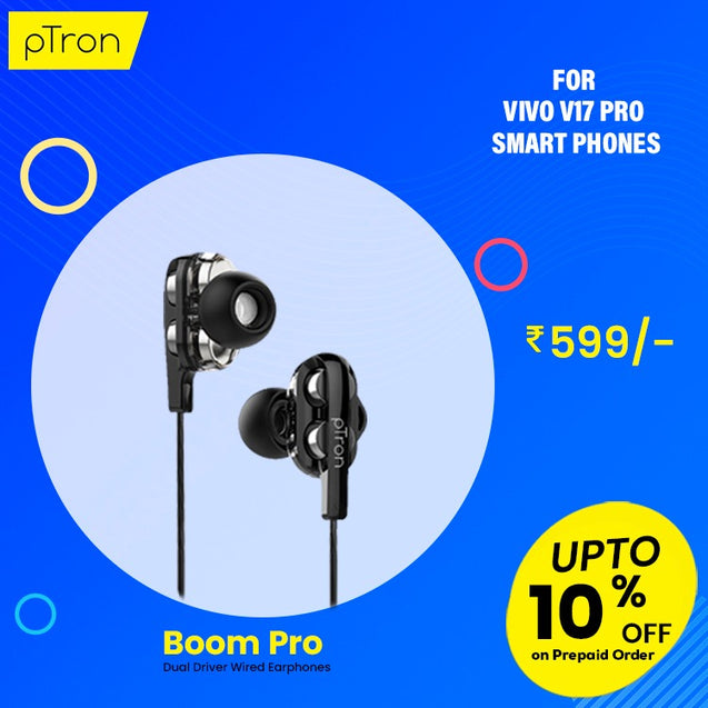 pTron Boom Pro 4D Deep Bass Dual Driver Wired Earphones with Mic for Vivo V17 Pro - (Black)