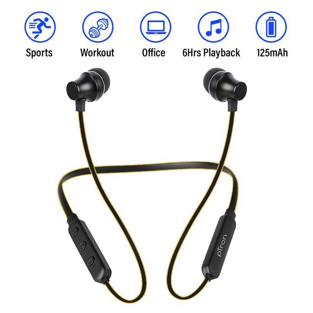 pTron InTunes Lite High Bass In-Ear Wireless Headphones With Mic - (Black/Yellow)