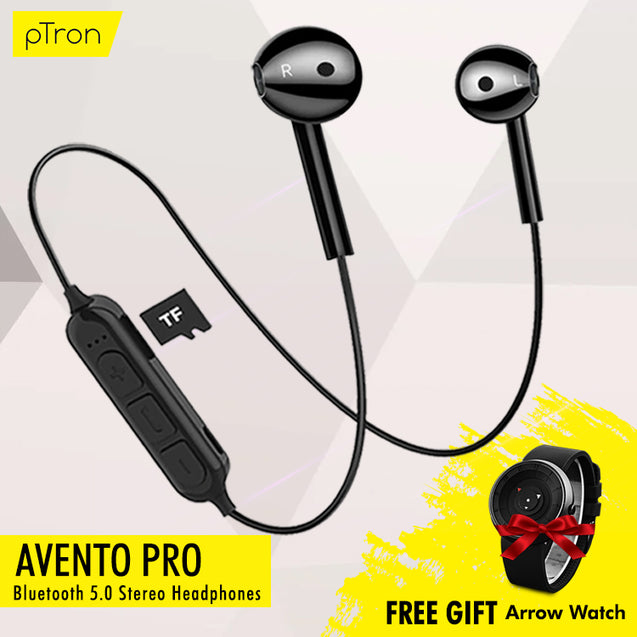 Buy PTron Avento Pro Bluetooth 5.0 Headphones with TF Slot For All Smartphones, Get Arrow Watch Free