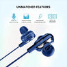 pTron Boom Pro Dual Driver In-Ear Stereo Sound Wired Headset with Mic For Redmi Note 5/5 Pro - (Dark Blue)
