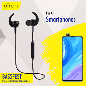 pTron BassFest In-Ear High Bass Stereo Sound Wireless Earphones - (Black)