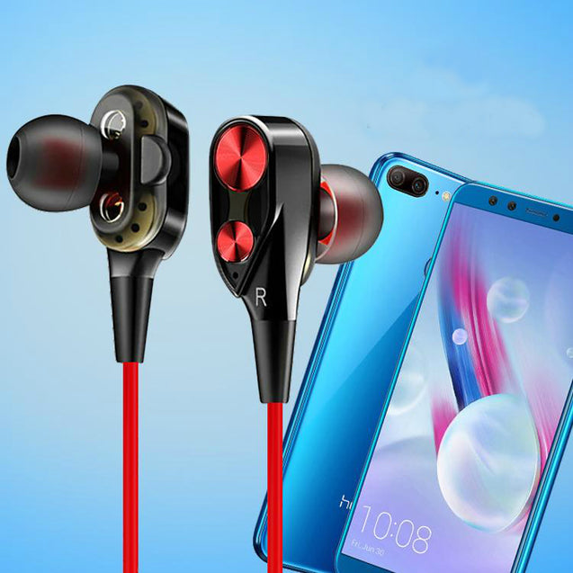 PTron Boom  Evo 4D Earphone Deep Bass Stereo Sport Wired Headphone For Honor 9 lite (Black/Red)
