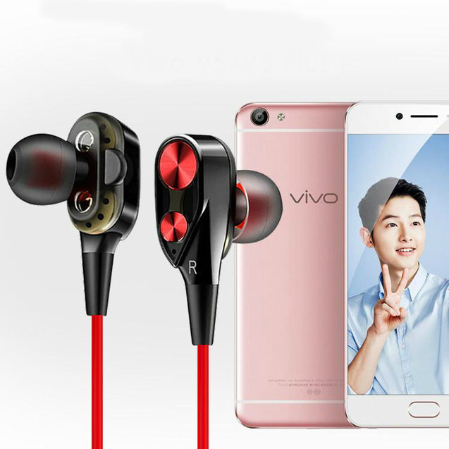 Boom 2 4D Earphone Deep Bass Stereo Wired Headphone With Mic For Vivo V5 / Vivo V5 plus (Black/Red)