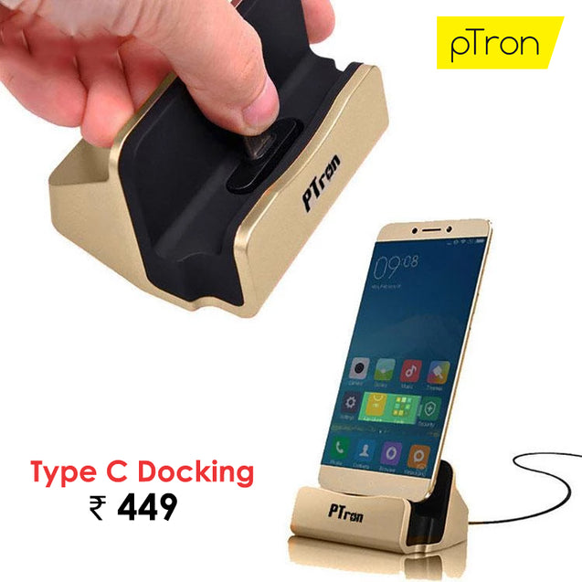 Buy PTron Flux In-Ear Stereo Headphones, Get PTron Cradle USB Type-C Docking Station Charger Free