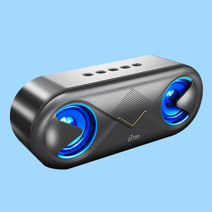PTron Fusion Bluetooth 5.0 Surround Sound 10W Portable Wireless Speaker with LED Light (Black/Gold)
