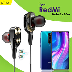 PTron Boom Evo 4D Headphones Deep Bass Stereo Wired Headset For Redmi Note8/8Pro (Black/Gold)