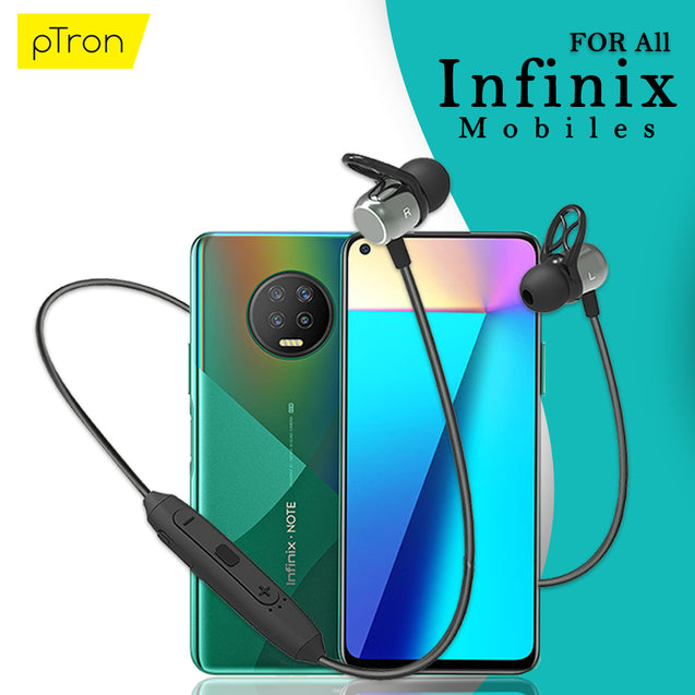pTron Avento Plus Bluetooth 5.0 Magnetic Stereo Headphones for All Infinix Smartphones- (Grey/Black)