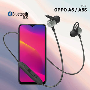 PTron InTunes Evo Bluetooth 5.0 Sports Magnetic Earphones with Mic for Oppo A5 / A5s (Grey/Black)