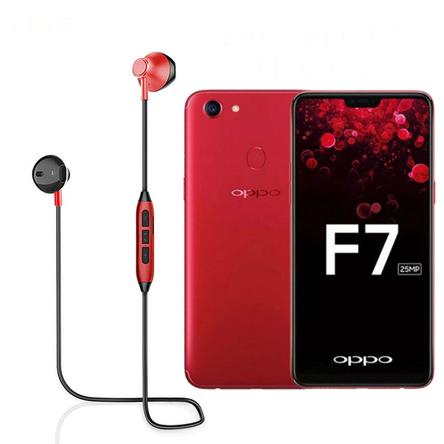 PTron InTunes Pro Magnetic Bluetooth Earphones With Mic For Oppo F7 (Red/Black)