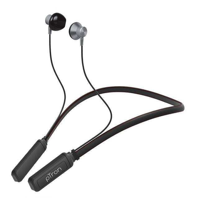pTron InTunes Plus In-Ear Magnetic Wireless Headset with Mic - (Grey/Black)