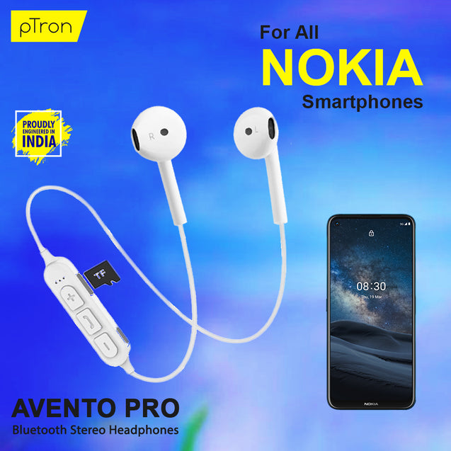 PTron Avento Pro Bluetooth 5.0 Stereo Bluetooth Headphones With TF Slot For All Nokia Mobiles (White)