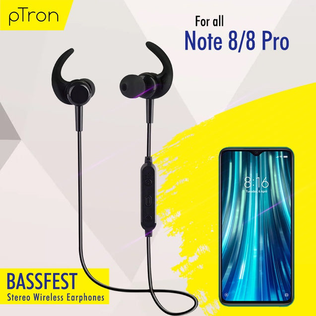 pTron BassFest High Bass Stereo Sound Wireless Earphones For Xiaomi Redmi Note 8/8 Pro- (Black)