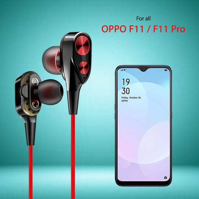 PTron Boom Evo 4D Headphones Deep Bass Stereo Wired Headset For Oppo F11/F11 Pro (Black/Red)