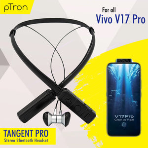 PTron Tangent Pro Wireless Headphone Neckband Bluetooth Headset For Vivo v17 pro (Grey/Black)