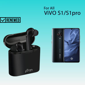Refurbished-pTron Bassbuds Lite In-Ear True Wireless Bluetooth Earphones (TWS) with Mic For Vivo S1/S1 Pro - (Black)