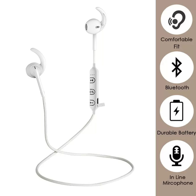 PTron Avento Sport Bluetooth Headphones in-Ear Wireless Earphones with Mic (White)