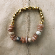 Load image into Gallery viewer, Sunstone and Magnesite Beaded Bracelet