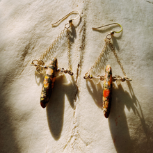 Load image into Gallery viewer, Smoky Quartz and Orange Jasper Earrings