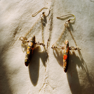 Smoky Quartz and Orange Jasper Earrings