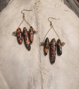 Orange Impression Jasper Earrings