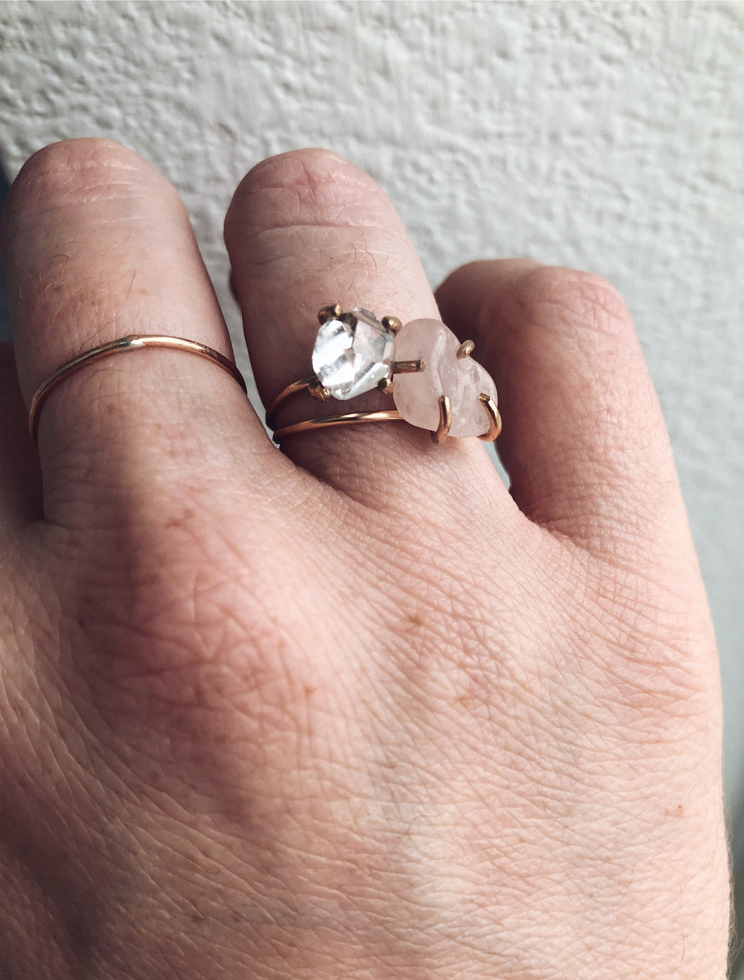 Rose Quartz Solitaire Ring