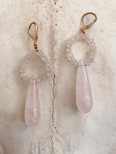 Load image into Gallery viewer, Rose Quartz Tear Drop Earrings