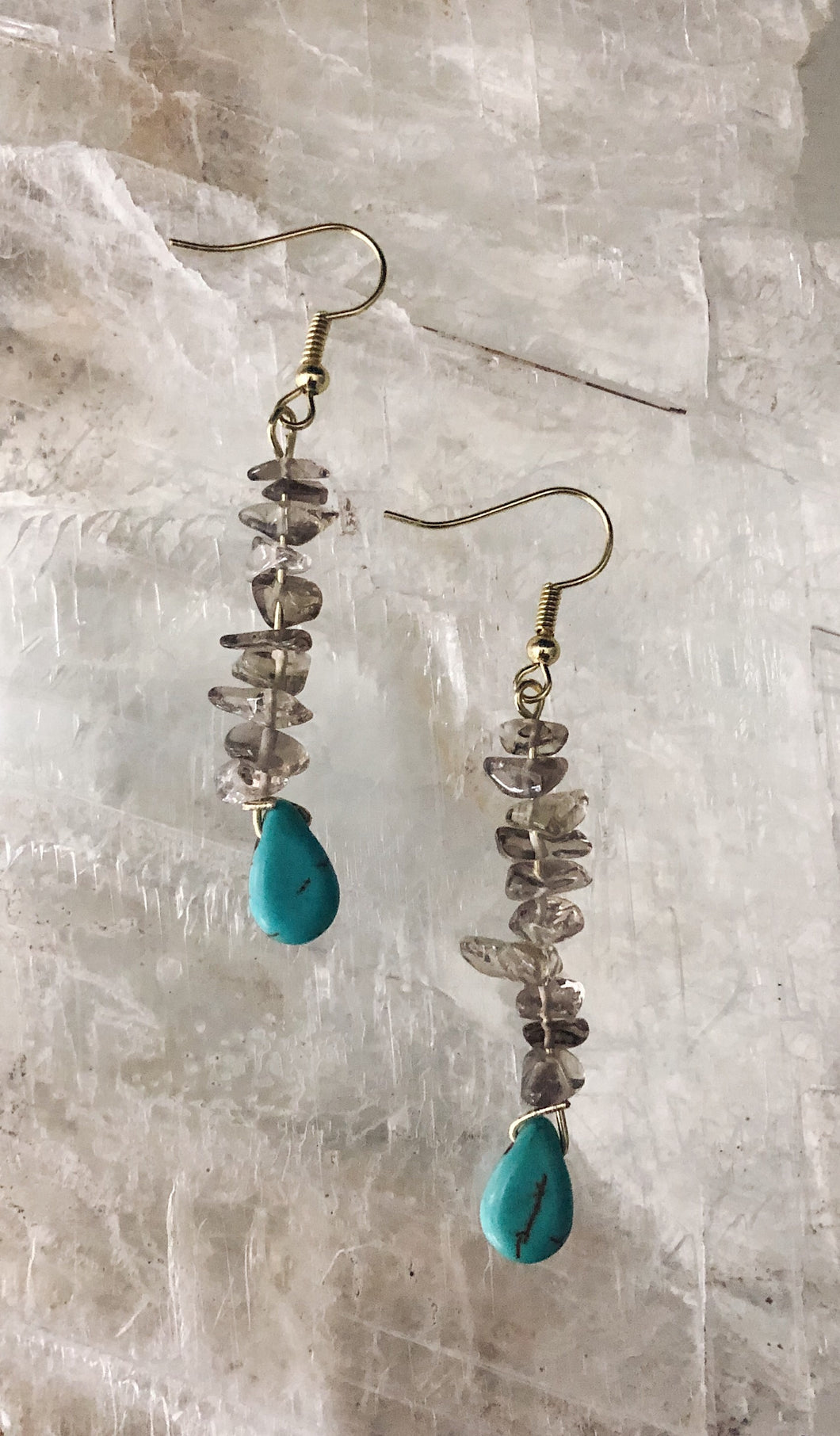 Smoky Quartz and Turquoise Drop Earrings