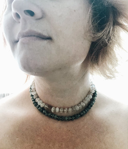 Hand knot Labradorite necklace
