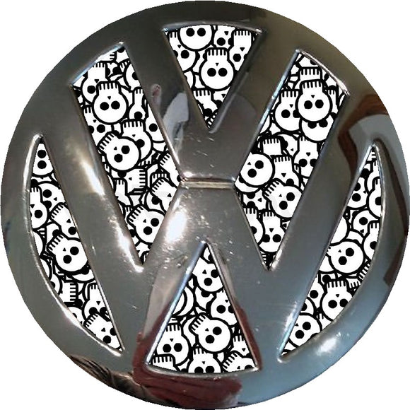 Black and White Skulls design Badge inlay to fit  Golf / Polo Mk4 Mk5 Mk6/Mk7/ T4/ T5 / Transporter