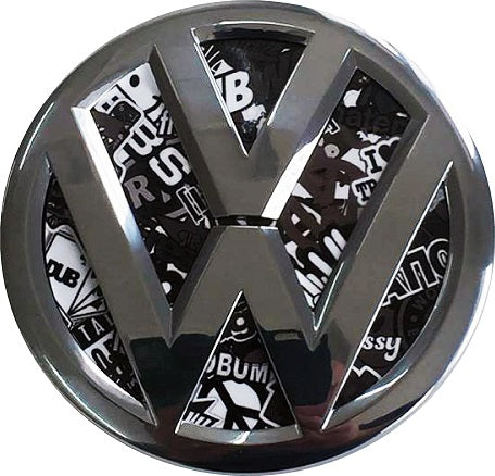 vw black and white stickerbomb badge inlay