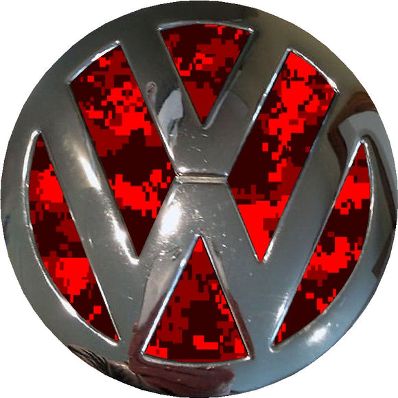 red digital camo vw badge inlay
