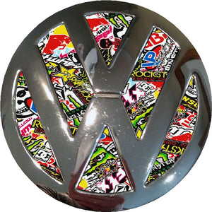 Stickerbomb Print Design Badge inlay to fit  Golf / Polo Mk4 Mk5 Mk6/ T4/ T5 / Transporter
