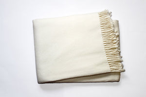Solid Plush Cotten Blend Throw 55x70 - Cream