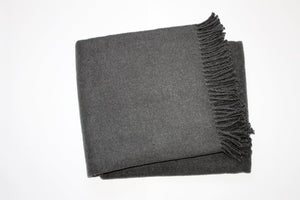 Solid Plush Cotten Blend Throw 55x70 - Dark Grey