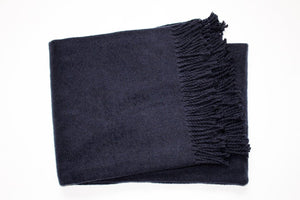 Solid Plush Cotten Blend Throw 55x70 - Dark Navy