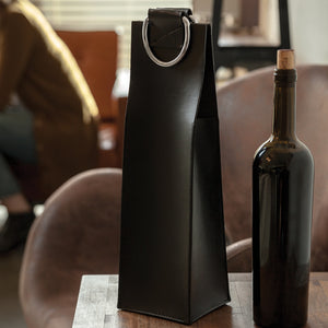 Faux Leather Wine  - Black