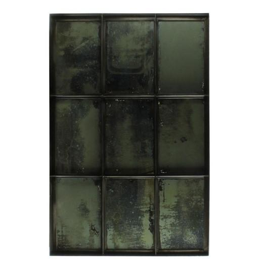 Carrefour Iron Mirror - 9 Panes Antique Nickel