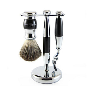3 Piece Shaving Set - Black + Chrome
