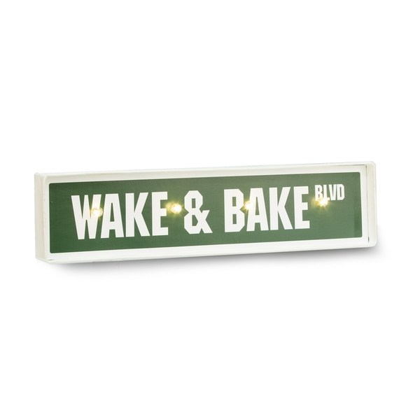 Wake + Bake Lighted Street Sign