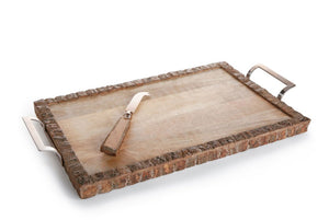 Wood Tray w/ Cheese Knife