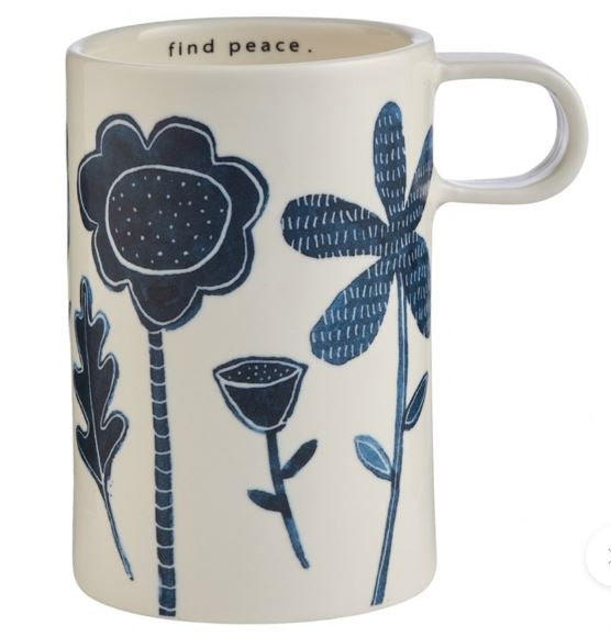 Porcelain Indigo Tall Mug - Find Peace