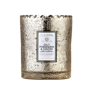 Gilt Pomander & Hinoki Scalloped Edge Glass Candle