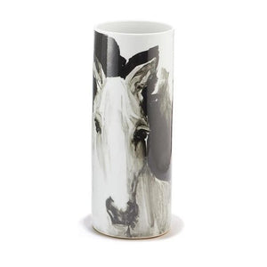 Tall White Horse Vase - Medium
