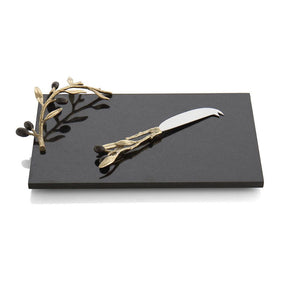 Olive Branch Gold Cheese Board w/ Knife