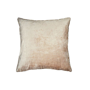 Velvet + Bead Pillow - Blush / Antique Gold